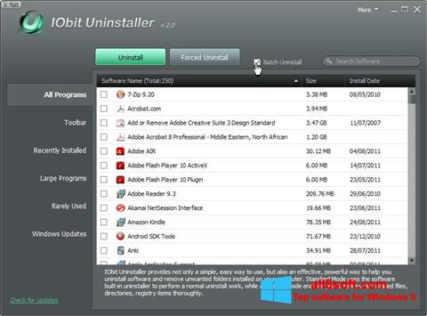 Petikan skrin IObit Uninstaller untuk Windows 8