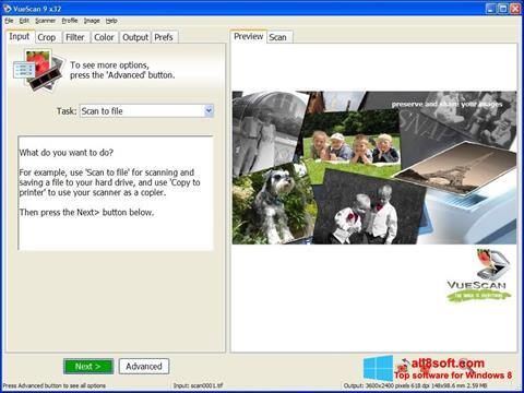 Petikan skrin VueScan untuk Windows 8